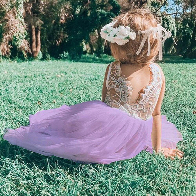 Summer Kids Dresses For Girls Lace Sleeveless Backless Back V Tulle Party Princess Formal Dress Bridesmaid Pageant Dresses