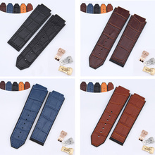 25x19mm black brown blue leather watch Bands for HUB BANG 365.SX.1170.LR men's mechanical watch belt