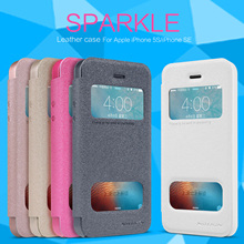 Nillkin Sparkle Series PU Leather Flip Case Cover For Apple iPhone 5 5S SE (4.0″inch) Super Thin Smart Window Retailed Package