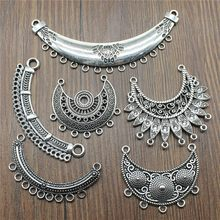 3pcs/lot Antique Silver Color Necklace Connector Charms Pendant Jewelry Connector Charms For Necklace Jewelry Making(China)