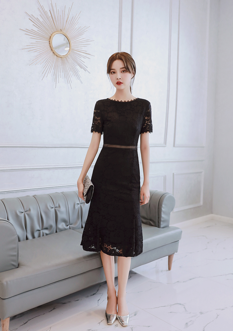2019 Lace Pink Dress Women O-neck Elegant Evening Party Formal Mid-Calf Mermaid Empire Short Sleeve Women's Black Summer Dresses