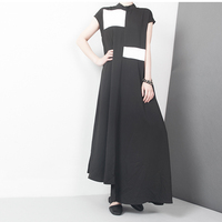 2017 Summer Fashion New Black White Spelling Color Small Stand Lead Short Sleeve Sexy Long Dress