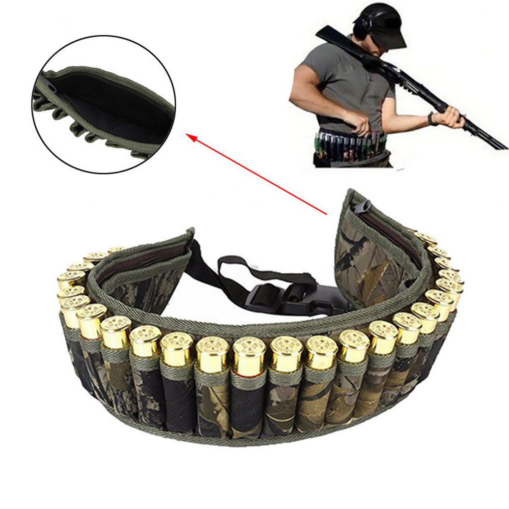 Tactical Shell Bandolier Belt 12/20 Gauge Ammo Holder 28 Rounds Gun Bullet Belt Pouch Cartridge Waist Belt Bag For Hunting