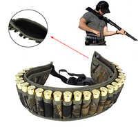 Tactical Shell Bandolier Belt 12/20 Gauge Ammo Holder 28 Rounds Gun Bullet Belt Pouch Cartridge Waist Belt Bag for Hunting