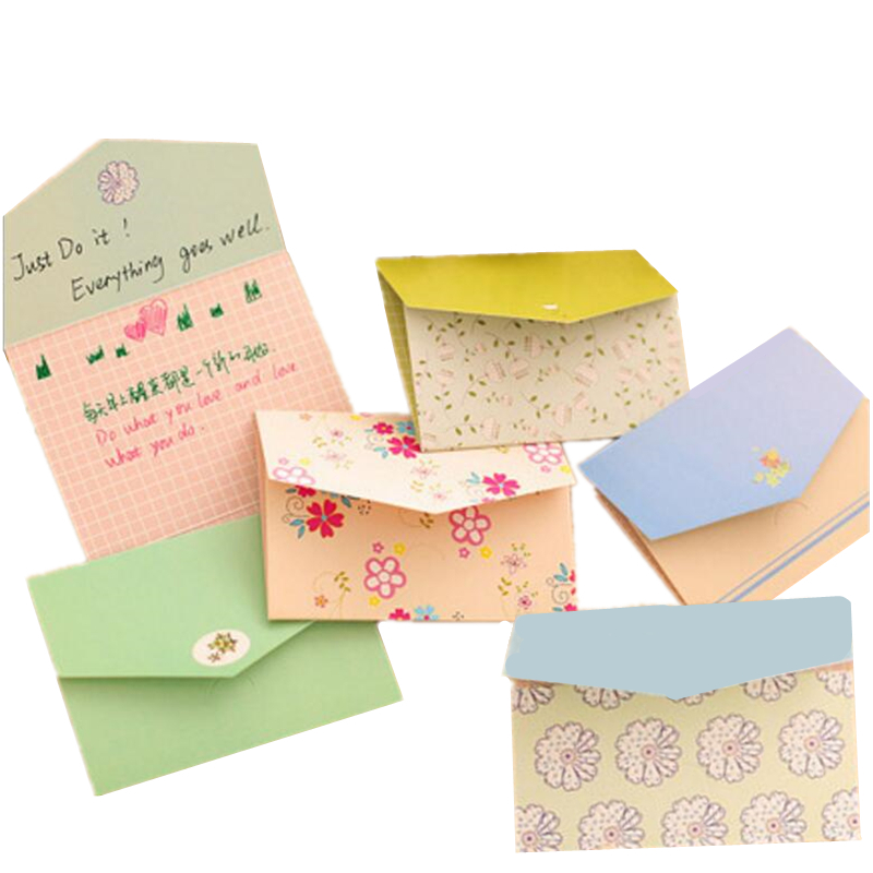 6PC Korea Stationery Mini Envelope  Farmhouse Style For Card Leave A Message Cards Cute Fresh Paper Envelopes Gift
