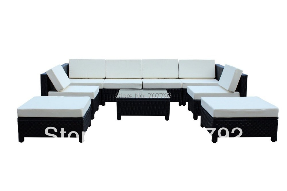 9 Pcs Luxury Wicker Patio Sectional Indoor Outdoor Sofa Furniture Set    White Cushion(China