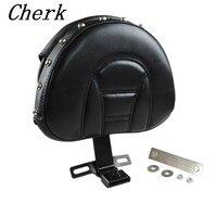 Black Motorcycle Detachable Plug In Adjustable Driver Backrest Kit For Harley Fatboy Heritage Softail 2007 2017