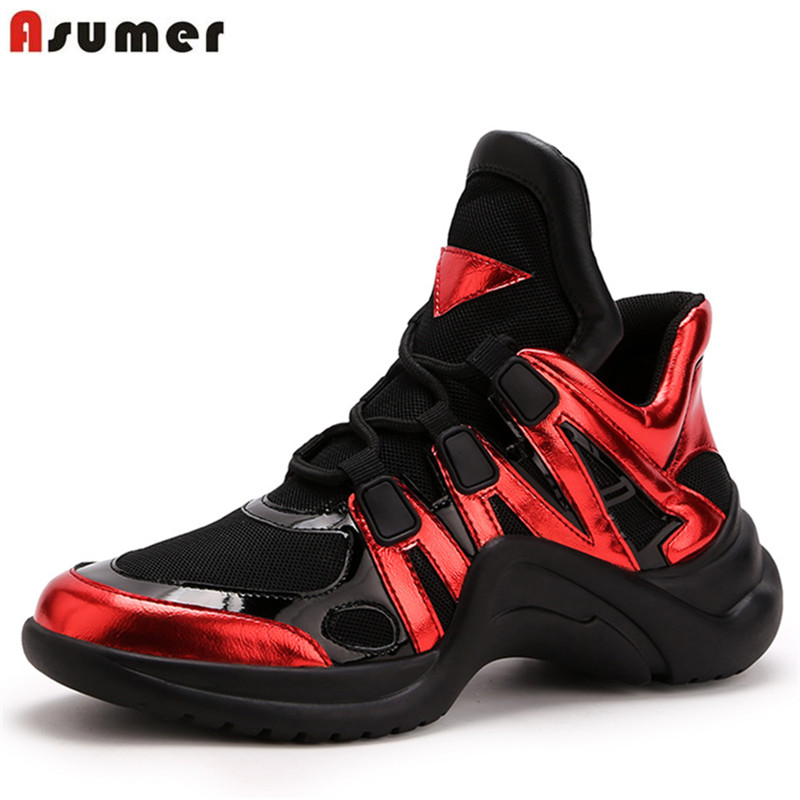 ASUMER 2019 High quality women sneakers lace up breathable spring summer ladies footwear platform sneakers casual