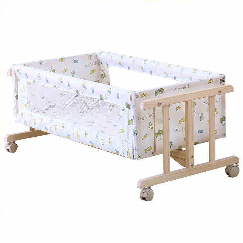 High quality solid wood baby crib portable newborn cradle multifunction wooden baby sleeping rocking bed high quality solid wood children bed lengthen widen baby wooden bed combine big bed child kids baby crib