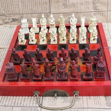 Chess-Pieces-Set Wooden-Board Resin Gift Medium with Retro Entertainment Terracotta Stereo