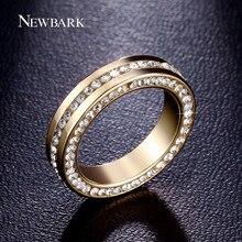 NEWBARK Platine Plaqué Anneaux De Mariage Pavée Réglage du Canal 3 Rangées Zircon Cubique Anneau de Mode Hommes Bijoux(China (Mainland))