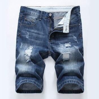 Plus Size 40 Ripped Denim Short Knee Length Men Jeans Straight Pants Mens Jeans Homme