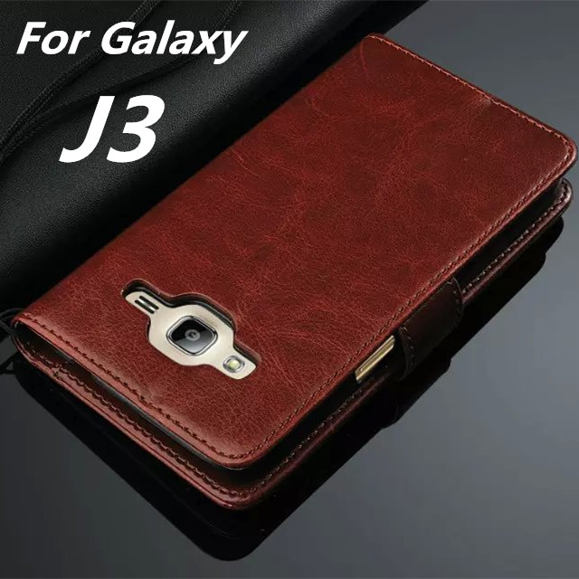 For Fundas Samsung J3 High Quality Flip Cover Case Magnetic Leather Holster For Samsung Galaxy J3