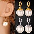 Brinco de Pérola simulada Big Beads Moda Jóias Banhado A Ouro Clássico Rodada Branco Brincos de Jóias Para As Mulheres E224