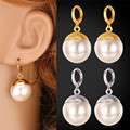 Simulated Pearl Earring Big Beads Fashion Jewelry Gold Plated Classic Round White Earrings Jewelry For Women E224