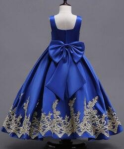 Image 3 - Royal Blue Long Summer Girl Dresses Big Bow Flower Girl Dresses Gold Applique Girls Pageant Dress First Communion Dresses