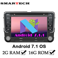 2Din 2G RAM Android 7.1 VW Car DVD Player For Volkswagen POLO PASSAT EOS Golf Bora Wifi Google GPS Radio RDS Red Green Button