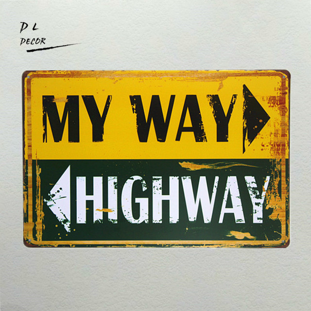 DL my way highway TIN SIGN ONE PLANE Metal Decor Wall Art Garage ...