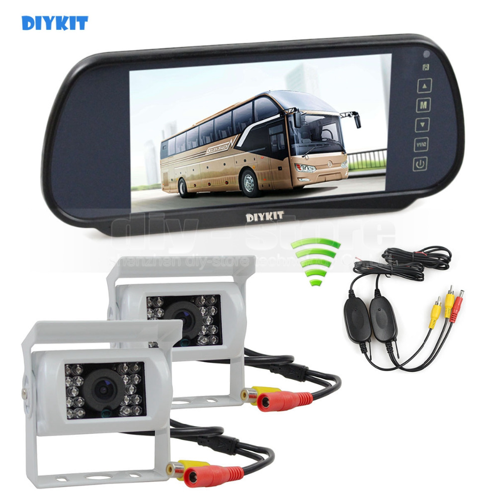DIYKIT Wireless 12VDC 7inch Mirror Monitor Car Monitor Waterproof CCD Rear View Car Camera White for Truck Caravan Bus Van 1V2 diykit wired 12v 24v dc 9 car monitor rear view kit backup waterproof ccd camera system kit for bus horse trailer motorhome