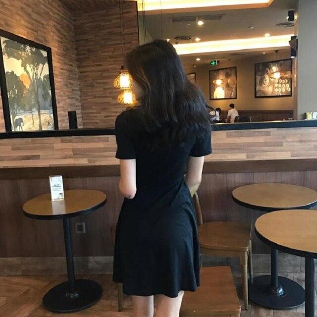 Gothic Bandage Women'S Vintage Dress Short Sleeve V-Neck Mini Slim Dresses Harajuku 4