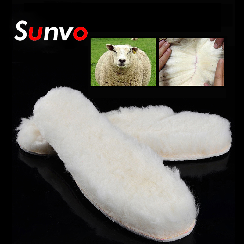 Unisex Winter Sheepskin Insoles Wool Fur Shoes Boots Inserts Insoles White