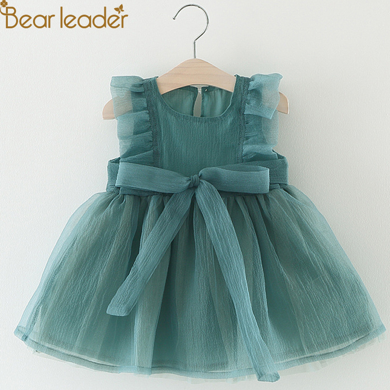 Bear Leader Baby Girl Clothes Dresses 2018 Summer Big Cow Green Baby Tutu Dress baby girl clothes dresses bear leader baby dresses 2018 new summer baby girls clothes colorful printing dresses with hat 2pcs newborn dresses for 6m 24m