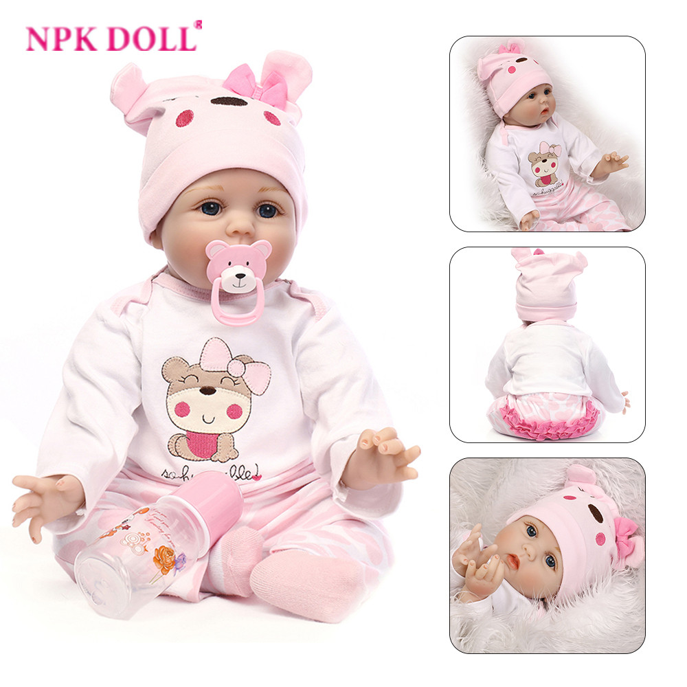 NPK Collection 22 Newborn Nursery Baby Doll Realistic Silicone Lifelike Moppet with Removable Clothes Bath Toy for Kids npk collection handmade bjd doll 18 inch girl doll include clothes shoes plastic baby princess doll plaything toy for children