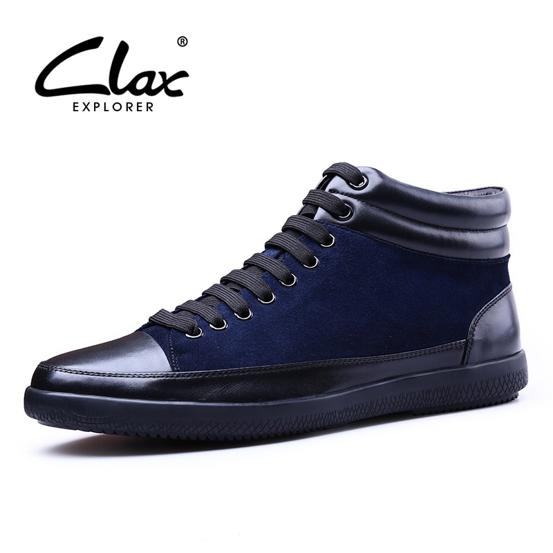 CLAX Men's Leather Shoes 2018 Spring Autumn Suede Leather Shoe Male Casual Footwear Soft British Style High Top Designer Flats
