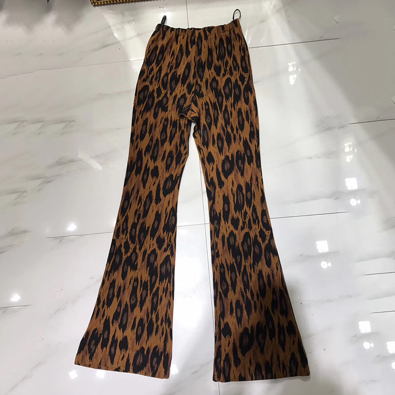 2019 женские леопардовые широкие брюки сексуальные с высокой талией с цветочным принтом широкие брюки новейший стиль свободные модные летни