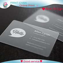 Custom business card printing 500/lot PVC transparent business card with white ink free shipping pvc embossed business card and vip card supply