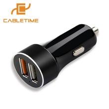 Cobrar para Iphone Cabotime Qc3.0 Rápido Carregamento Carro Dual Usb Porta 5 V e 2.4a 7 Plus Xiaomi Htc Huawei LG Mais Dispositivo N067