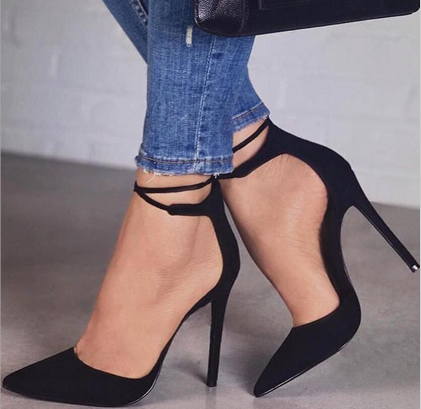 New Women High Heels Sexy Pumps Stiletto Pointed Toe Party Ankle Strappy High Heels Black Ladies Wedding Shoes