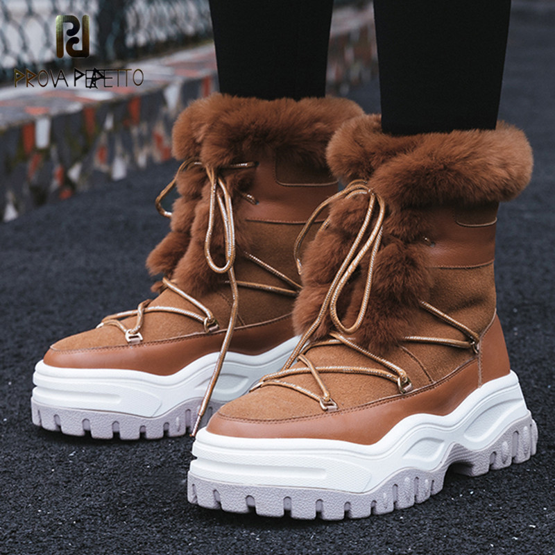 где купить Prova Perfetto New Cross-tied Women Ankle Boots Warm Fur Snow Boots Ladies Cow Suede Round Toe Casual Shoes Platform Woman Boots по лучшей цене