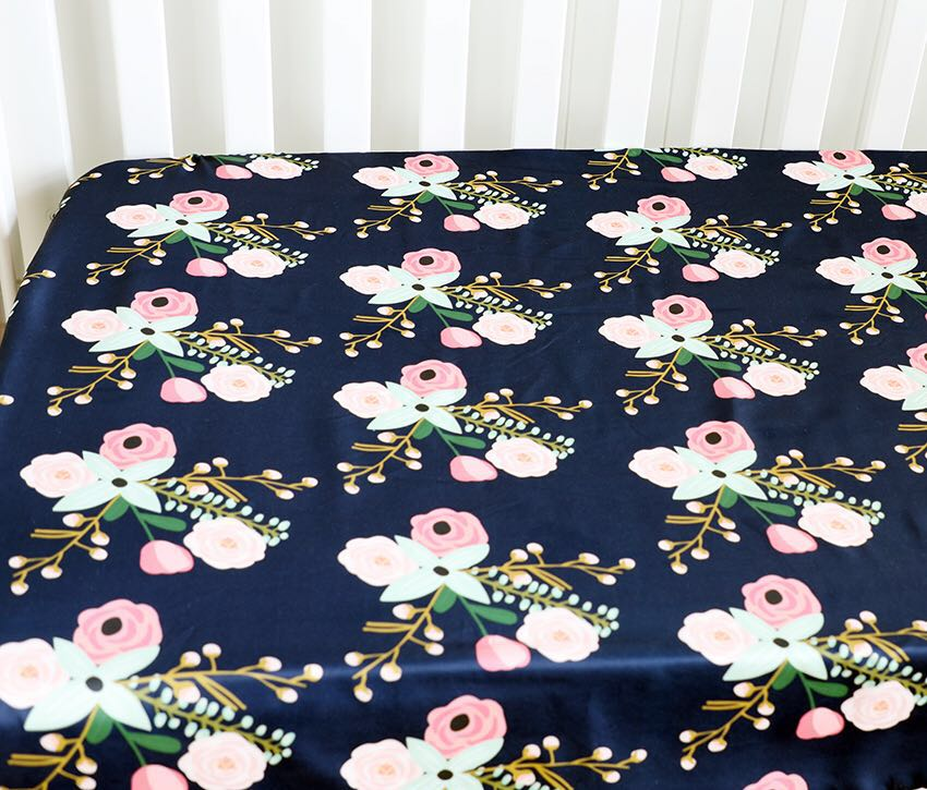 Baby Floral Fitted Crib Sheet Girl's Bed Mattresses Fits Standard Crib 28*52*9 Inches  (Navy Blue)