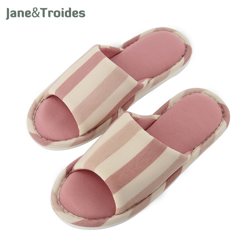 Autumn Striped Open Toe Women Slippers Cotton Soft Comfortable Flip Flops Anti Slip Couple Indoor Slippers Fashion Woman Shoes flat fur women slippers 2017 fashion leisure open toe women indoor slippers fur high quality soft plush lady furry slippers