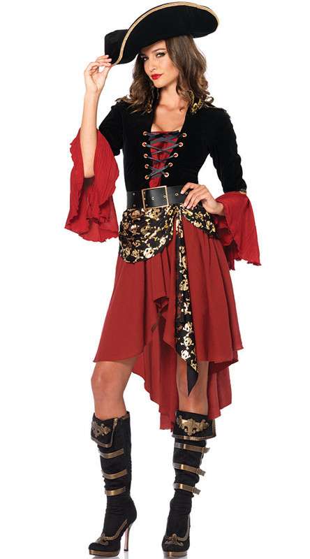Adult Female Cruel Seas Captain Buccaneer Pirate Cosplay Costume Women's Sexy Halloween Fancy Dress Clothing On Sale
