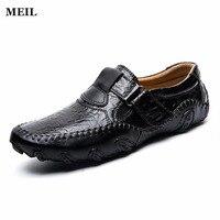 Moda Brytyjskie Mężczyźni Przyczynowe Buty Genuine Leather Slip On Men Shoes High Quality Odkryty Buty Zapatos Hombre