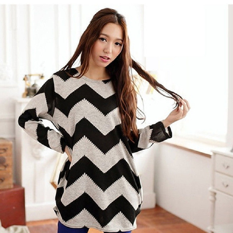 2016 Fashion New Korean Design Women Stripes Crewneck Pullover Long Sleeve Casual Loose Sweater Knitted Tops Women Casual Wear
