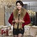 Autumn Winter Women's Genuine Rabbit Fur Jacket Raccoon Fur Collar Lady Short Outerwear Coat VF0309