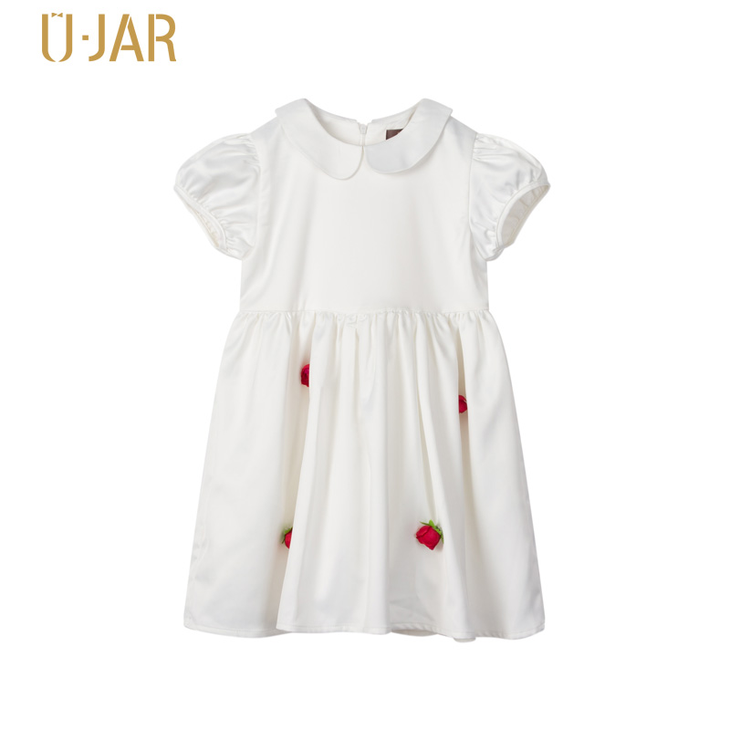 UJAR Puff Sleeve Pleated Cotton Dress For Girls White Colour Red 3D Flower Child Summer Wedding Dresses U42M411 toddlers girls dots deer pleated cotton dress long sleeve dresses