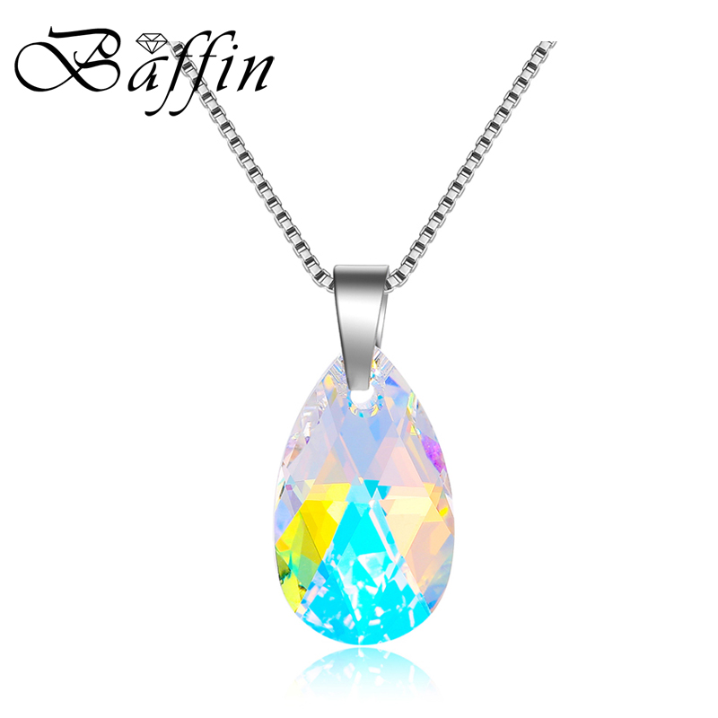 Baffin WaterDrop Shaped Pendant Necklace Made With Swarovski Elements Maxi Crystal Collier For Women Mother's Day Gift Joyas baffin crystals pave jewelry sets round pendant necklace maxi rings luxury accessories for women made with swarovski elements