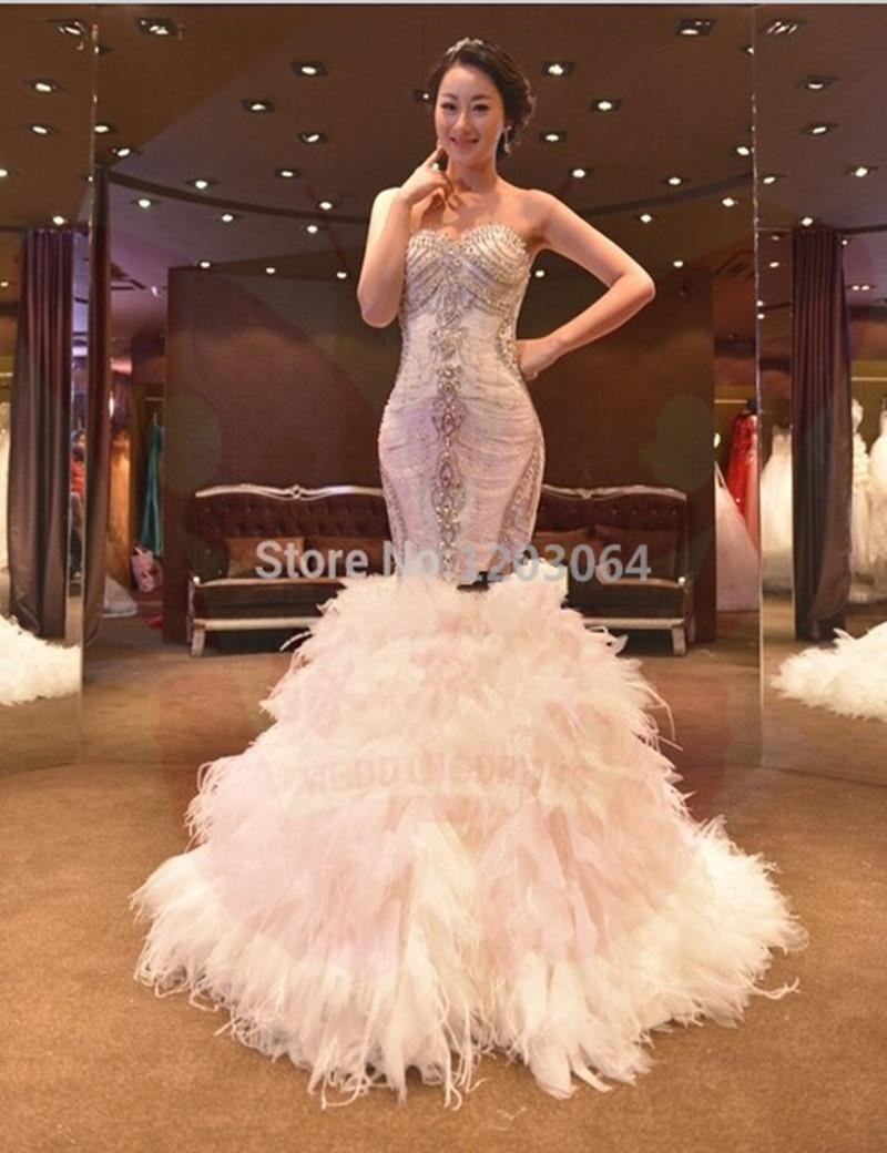 vestido de noiva white mermaid wedding dresses luxury ostrich feather wedding gowns sexy lace wedding dress