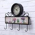 Ferro relógio de quartzo mudo relógio de parede pastoral personalidade criativa Mobiliário Doméstico decorativo retro gancho