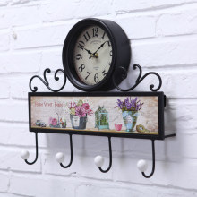 Iron wall clock pastoral creative personality Home Furnishing quartz clock mute retro decorative hook