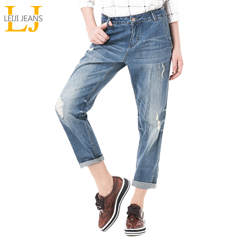 LEIJIJEANS Vår Plus Størrelse Fashion Ripped Hole Bleached Mid Waist Ankel Lengde Vintage Stretch Loose Harem Women Jeans