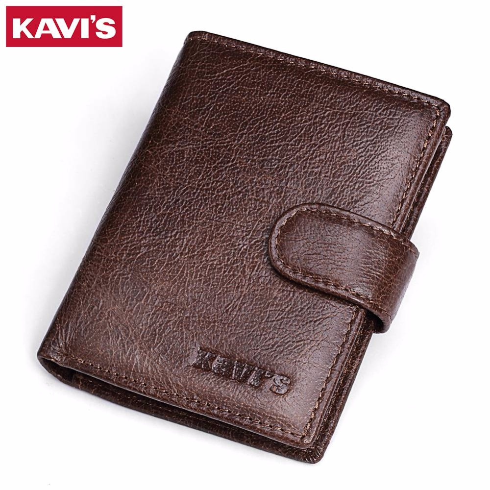 KAVIS 100% Genuine Leather Wallet Men Vintage Male Coin Purse Card Holder with Bag Rfid Portomonee Walet Slim Small PORTFOLIO kavis brand crazy horse genuine leather wallet men wallets coin purse with card holder mini male with bag portomonee small walet