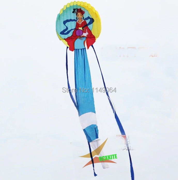 free shippinghigh quality 12m moon fairy soft kite with handle line easy control ripstop nylon fabric kite flying decoration fun 2 5m huge dual line control soft frameless stunt parafoil flying kite plaid cloth made with 2 line board and 2 x 40m line