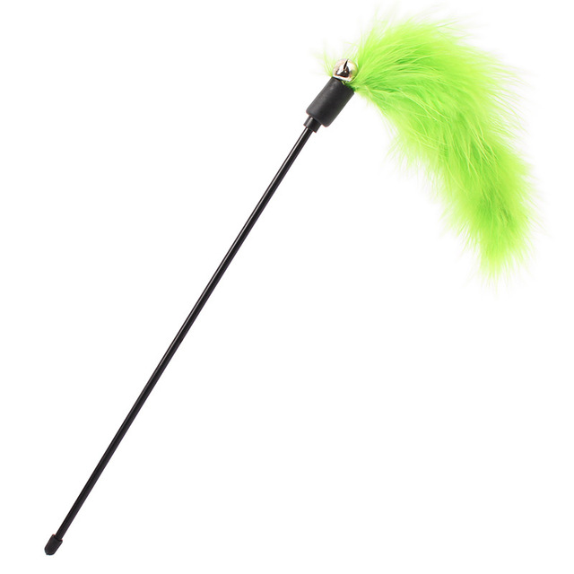 3 Colors Pet Cat Kitten Feather Toys Plastic Funny Cat Stick Colorful Feathers Wand Interactive Training Toy
