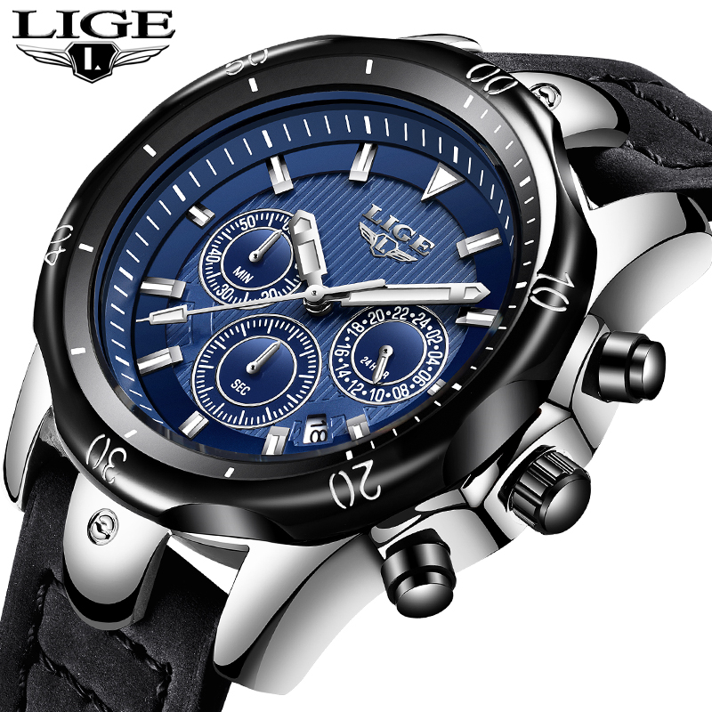 Relogio Masculino LIGE Mens Watches Top Brand Luxury Gold Quartz Watch Men Casual Leather Military Waterproof Sport Wrist Watch umpc rover a700gq бу