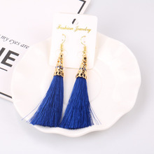 Fashion Black Long Tassel Retro Earrings For Woman Girl Big Tassel Earring